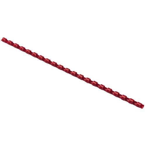Hama–Canutillos para encuadernación (plástico, redondos, 21anillas, 8mm, 25unidades), color rojo