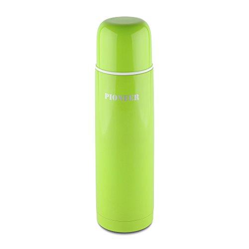 Pioneer DrinkPod Isolierflasche aus Edelstahl 0,5 L Doppelwandig Thermo-Lebensmittelbehälter 8 Stunden Heiß 24 Stunden Kühl Auslaufsicher BPA-Frei - Grün