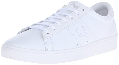Fred Perry Unisex-Adult Court Spencer Leather Sneaker, White, 6.5 D UK (7.5 US)