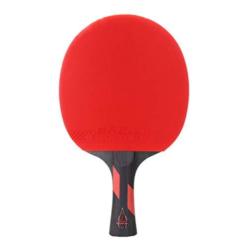 Reiz 5 Sterne Tischtennisschläger Kurzer oder Langer Griff Shake-Hand-Tischtennis-Paddel-Match-Trainingsschläger mit Etui (rot & schwarz) -BCVBFGCXVB