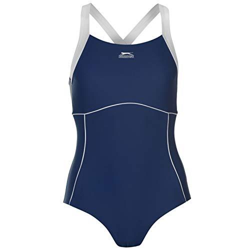 Slazenger Damen X Back Badeanzug Ringerruecken Schwimmanzug Bademode Schwimmen Blau 12 (M)