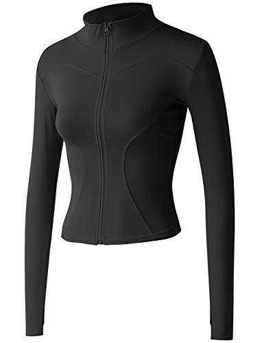 Gacaky Women's Slim Fit Lightweight Athletic Full Zip Stretchy Workout Running Track Jacket with Thumb Holes Black S