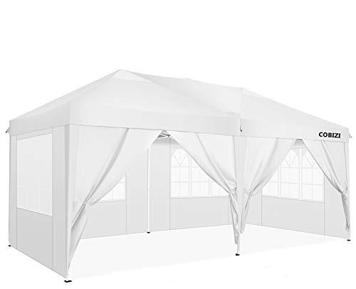 COBIZI Partyzelt Pavillon 3x6m Festzelt Faltpavillon Wasserdicht für Garten Terrasse Feier Party Gartenzelt mit 4 Seitenteilen und 2 Eingängen, 12 Heringe & 4 Seile & 1 Tragetasche (3x6 M, Weiß)