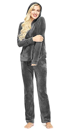 Dolcevida Women's Velour Tracksuits 2 Piece Outfits Hoodie & Sweatpants Sweatsuit Set, Full Zip-grey, Large