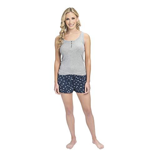 Lucky Brand Women's 2X2 Rib Henley Tank and French Terry Dolphn Short Pajama Set, Heather Grey/Bandana Star, Medium