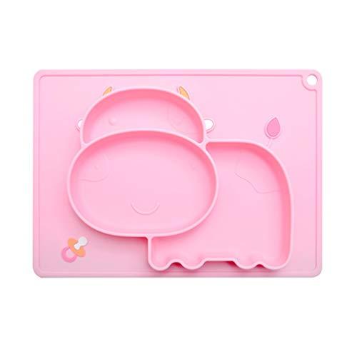 Hemoton 1pc bebé Dividida Comedor de la Placa de Silicona Bandeja de Dibujos Animados Duradero Delicado Plato Exquisito Plato de vajilla de Mesa para niños bebés (Color al Azar)