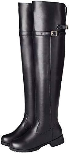 BIGTREE Damen Stiefel Overknee Reitstiefel Leder Hohe Winter Gefüttert Biker Boots mit Blockabsatz Schnalle Reißverschluss Schwarz 45 EU