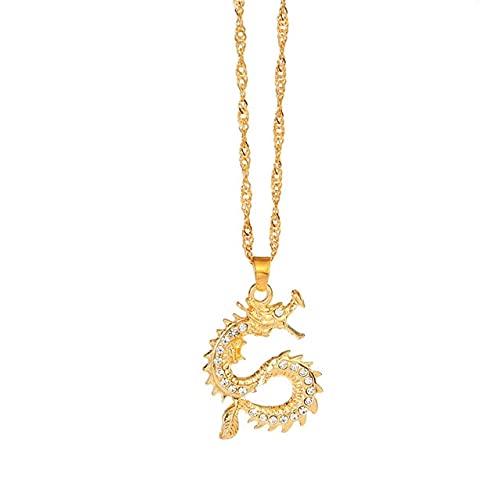 HUREWQ collarNuevos Collares con Colgante de dragón a la Moda para Mujeres y Hombres, Collar de Gargantilla de Rosas Vintage de Color Dorado, Adornos de Mascota, Regalo de joyería