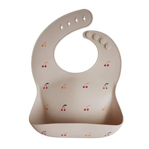 mushie Silicone Baby Bib | Adjustable Fit Waterproof Bibs (Cherries)