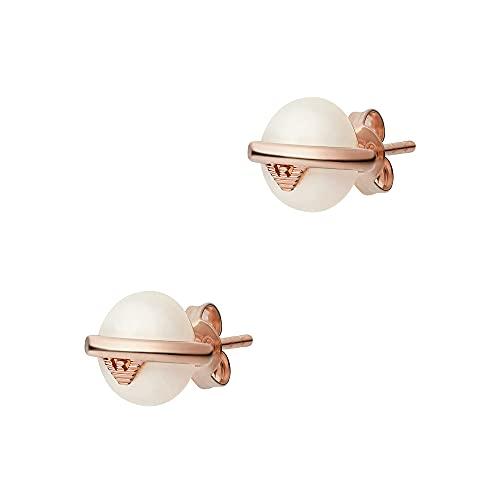 Emporio Armani - Pendiente de botón de plata esterlina en oro rosa para mujer, EG3535221