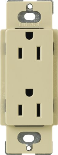 Lutron CAR-15-IV Claro 15 A Receptacle, Ivory