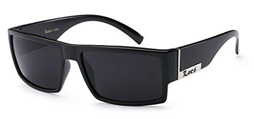 Locs Mens Flat Top Gangster Sunglasses Black Silver Frame 91026 (Black), 5.5w x 1.75h