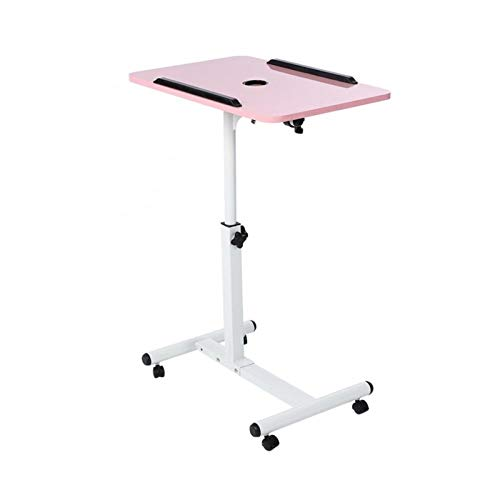 GUOQING Laptop Desk Adjustable Computer Desk Lifting Laptop Table Removable Standing Bed Sofa Notebook Desk Stand With Wheels portable overbed chair table (Color : Pink)