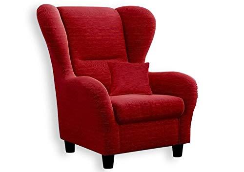 lifestyle4living Ohrensessel in rot im Landhaus-Stil | Der perfekte Polstersessel für entspannte, Lange Fernseh- und Leseabende. Abschalten und genießen!