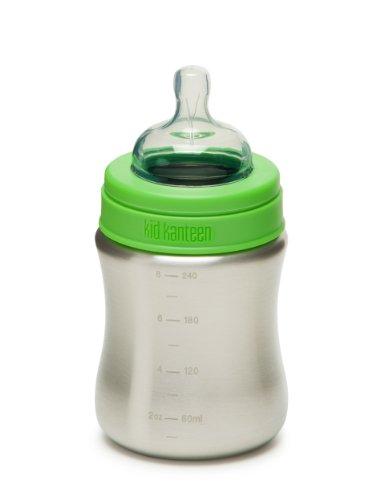 Klean Kanteen Edelstahl Babyflasche 266 ml Bottle, Brushed Stainless, 8020001