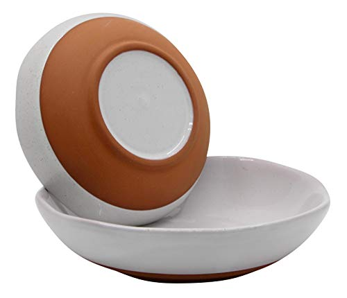 WANYA Set 2 White Ceramic Stoneware Hand-crafted Salad Bowl Set, Hand Made Porcelain, 5 Inch & 6 Inch Set of 2 (1 Pair)