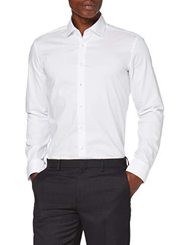 Seidensticker Herren X-slim Langarm Gepunktet Klassisches Hemd, Weiß 38 EU