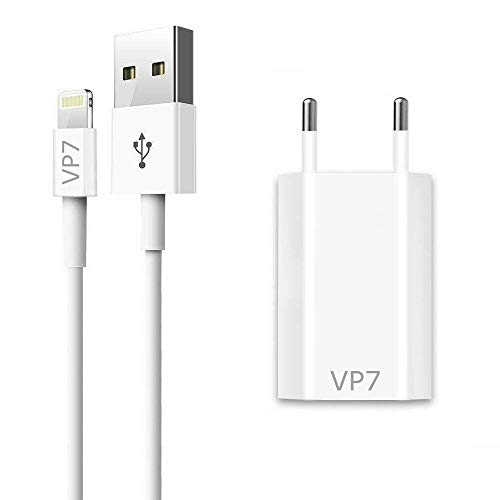 VP7 - Caricabatterie per iPhone, con alimentatore di rete USB per iPhone X, XS, XR, 8 Plus, 7 Plus, 6 Plus, 6S, SE, 5, 5S, iPod, iPad, bianco