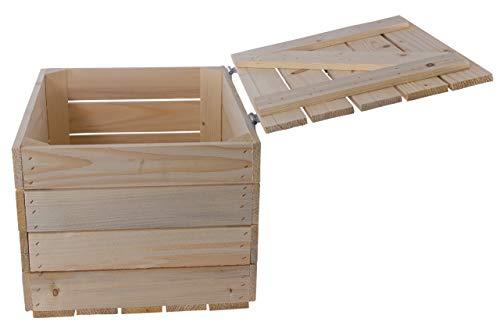 Kontorei Schlichte Holzkiste Natur mit praktischem Deckel, schön zur Aufbewahrung oder als Heimwerkertruhe, neu, 48x36x28cm - 2