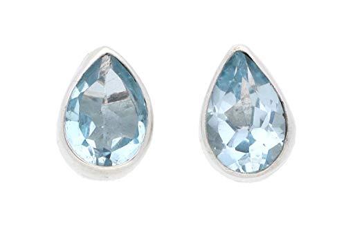 Blau-Topas Schmuck (Ohrringe) Blau-Topas Ohrstecker Blau-Topas facettiert in Tropfenform Größe ca. 6 mm x 8 mm 925er Sterling-Silber Modellnummer 8038
