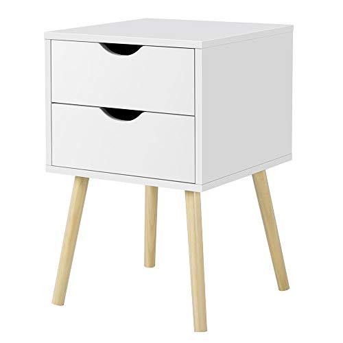 Yaheetech Beistelltisch mit 2 Schubladen, Nachttisch Nachtschrank Nachtkommode, 61cm hoch Sofatisch Telefontisch, Beine aus Kiefer