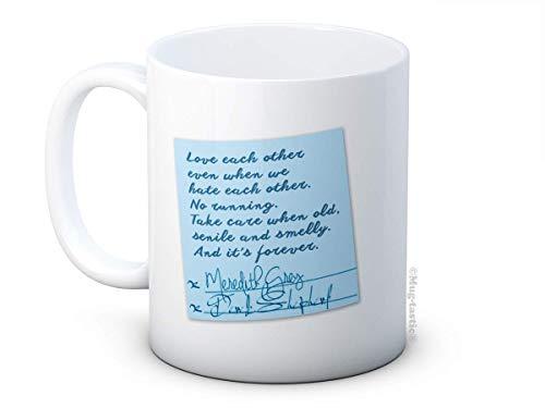 Derek and Meredith's Sticky Note Vows - Taza de café de cerámica con anatomía de Grey - Día de San Valentín
