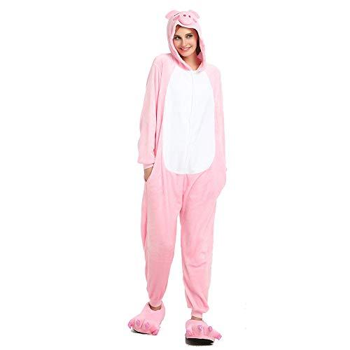 LFANH Unisex Rosa Adulto Cerdo Pijamas, Traje de Halloween de una Pieza de Desgaste del Partido de Navidad de Cosplay Animal,XL