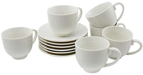 COM-FOUR® 6x Taza espresso con platillo - Tazas de cerámica para moka - Tazas pequeñas de café para espresso, moka y capuchino - 75 ml (012 piezas - 75ml - blanco)