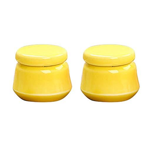 Hemoton 2 pcs Mini Céramique Pots Rechargeable Cosmétique Distributeur Bouteilles Portable sous-Emballage Bouteilles Conteneur De Stockage pour Rouge À Lèvres Rouge Émail Huile Essentielle (Jaune)