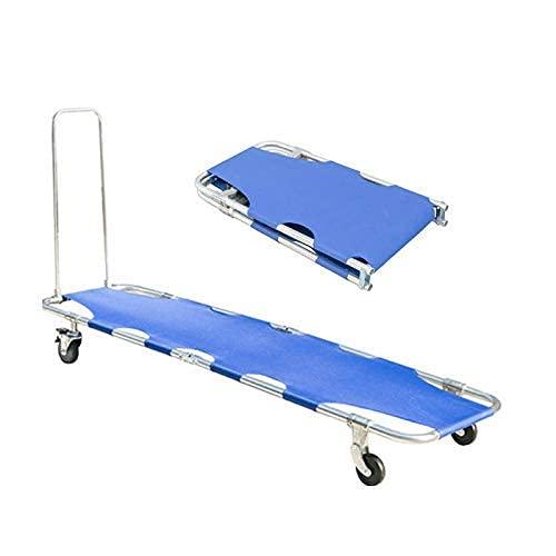 QFUNDAS Silla de Ruedas eléctrica Eléctrico, Camilla de Emergencia médica Cama portátil de aleación de Aluminio con cinturón de Seguridad Respaldo de Rescate, capaci