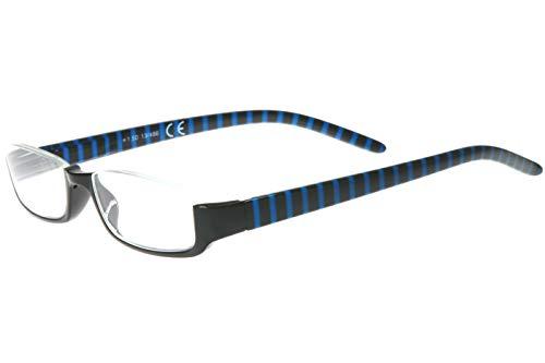 Lesebrille Damen Herren Halb-Rahmen Brille schwarz Ozean-blau gestreift rechteckige Gläser sehr leicht Lesehilfe-n Sehhilfe-n Lesebrillen 1.0 1.5 2.0 2.5 3.0 3.5, Dioptrien:Dioptrien 3.5