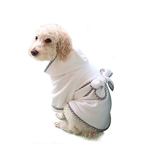 Dog Bathrobe, Microfiber Fast Drying Absorbent Hooded Bath Towel White for Puppy Small Medium Large Dog Cat (S)