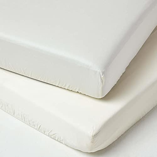 Homescapes Spannbettlaken fürs Baby- / Kinderbett, cremeweiß, Baby-Bettlaken 60 x 120 cm aus 100{c2a5776f198c7917a43b8e0c52db3d89e4f484ef3c1b11e6826fcc921fd56314} Bio-Baumwolle mit Fadendichte 400, hochwertiges Spannbetttuch im 2er Pack, GOTS-Zertifiziert