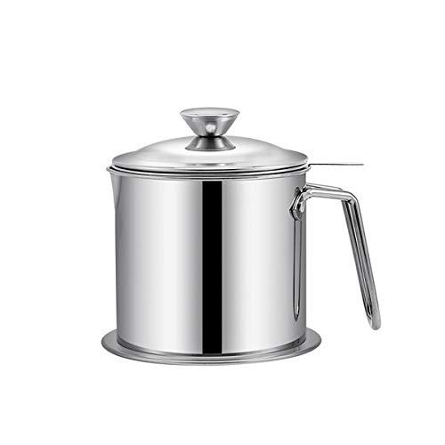Recipiente de aceite de acero inoxidable de 1,3 L para cocina o tocino, con colador, filtro de aceite de cocina, filtro de aceite para freír y grasa de cocina