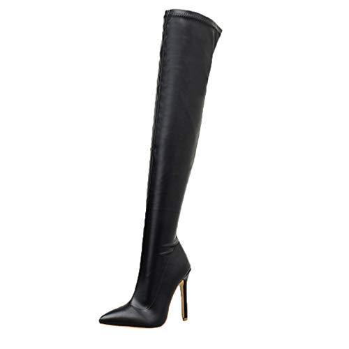 routinfly-Stivali da donna Botas de Invierno para Mujer, Zapatos sexys, Botines Largos de Punta por Encima de la Rodilla, Botas largas, Zapatos de Piel, Zapatos de tacón para Mujer, Mujer, Negro, 36