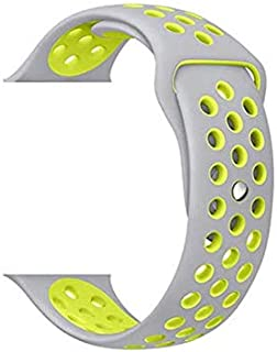 Sliver yellow Breathable with holes sport silicone watch Band for apple watch 42mm Bracelet Strap