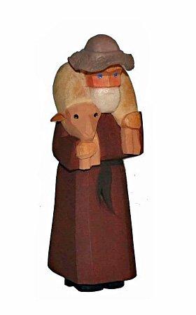 Lotte Sievers-Hahn Krippenfiguren * Schäfer mit Schaf und Hut im Baumwollbeutel * 1079