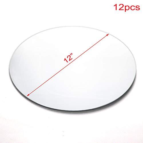 U HOME Spiegel-Kerzen-Teller, rund, 30,5 cm, 12 Stück