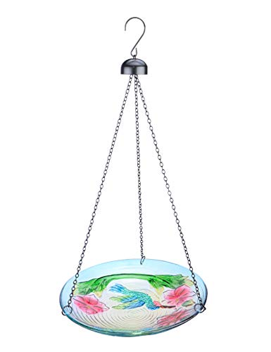 MUMTOP Bird Bath Outdoor Glass 11 Inch Bird Feeder Bowl Hummingbird Flower Garden Decoration