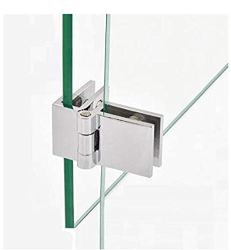[2 piezas] Bisagra para puerta de vidrio-90° grados vitrina vitrina vitrina bisagra de puerta abrazadera de vidrio bisagra de clip de fijación, grosor 5-8 mm (90°)