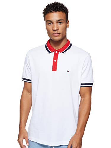 Tommy Hilfiger Contrast Placket Regular Polo, Blanco (Bright WHITE100), Small para Hombre