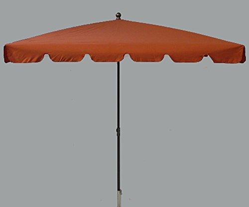 PEGANE Parasol rectangulaire centré Coloris Terracotta - Dim : H 250 x D 240 x 160/4 cm