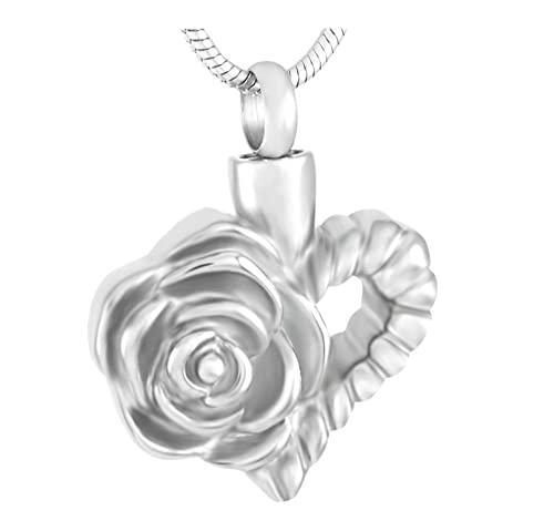 Lcgbw Collares Collar con Colgante De Urna De Cremación con Flor De Rosa En El Corazón, Urna Conmemorativa De Acero Inoxidable, Joyería De Recuerdo De Ceniza