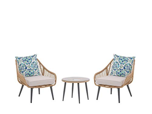 Beige Rattan Patio Bistro Set with Coffee Table and 2 Chairs with Double-Sided Cushions Laureto