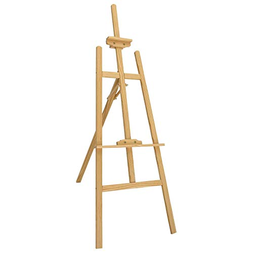 Caballete de estudio de madera con marco en A, ajustable, para estudiantes artistas, caballete plegable para exposiciones de arte para dibujar, pintar, bocetar, soporte de boda (145 cm)