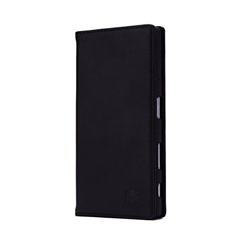 32nd Klassische Series - Lederhülle Hülle Cover für Sony Xperia Z5, Echtleder Hülle Entwurf gemacht Mit Kartensteckplatz, Magnetisch & Standfuß - Schwarz