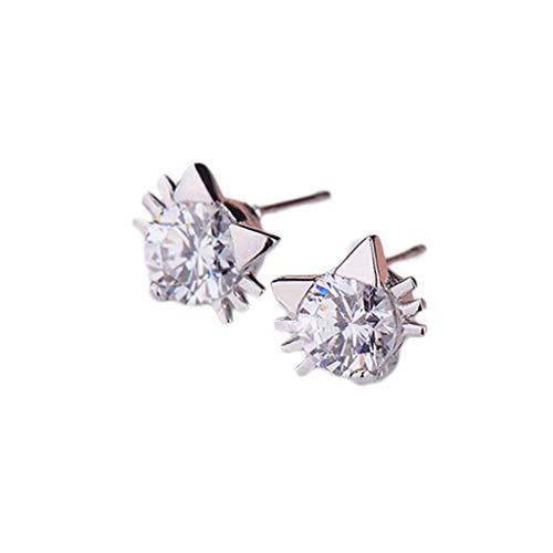 Minshao - Pendientes de tuerca de plata con forma de estrella de cinco puntas para mujer plateado plata
