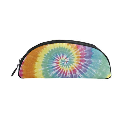 WEEDKEYCAT Pastel Spiral Tie Dye Semicircle Travel Cosmetic Bag Pen Pencil Portable Toiletry Brush Storage,Multi-Function Makeup Carry Case with Zipper