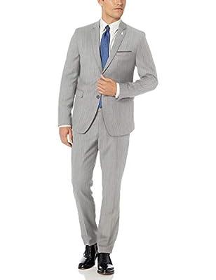 Original Penguin Men's Two Piece Slim Fit Suit, Silver Solid, 38 Short by Original Penguin