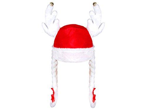 Cappello da Babbo Natale con Corna di Renna Campanelli e 2 Trecce (wm-83) Rosso Bianco di Feltro per Adulti Uomo Donna